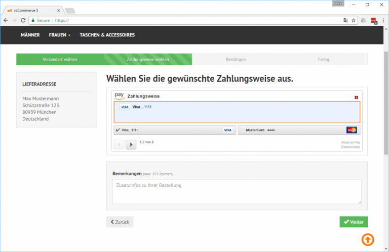 Amazon Pay in xt:Commerce 5 (Zahlungsauswahl-Seite)